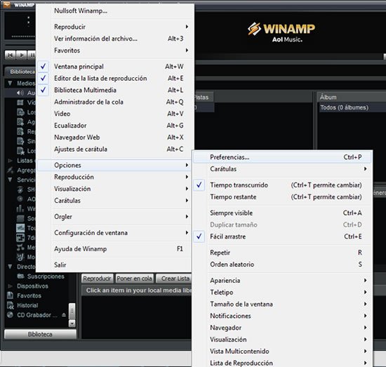 Preferencias Winamp Streaming